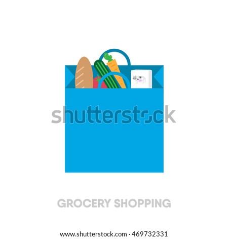 flat grocery bag icon. grocery bag with carrot, bread, milk, cucumber and tomato. vector illustration.