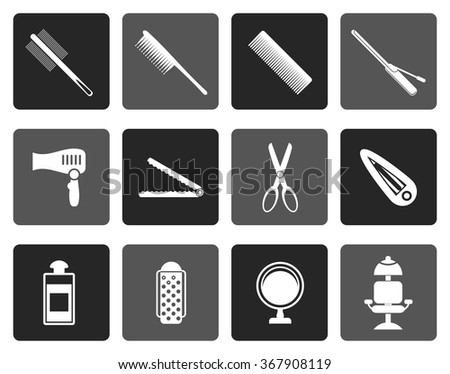 Flat hairdressing, coiffure and make-up icons  - vector icon set
