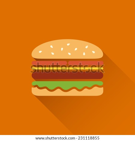 Flat hamburger symbol with long shadow - stock vector