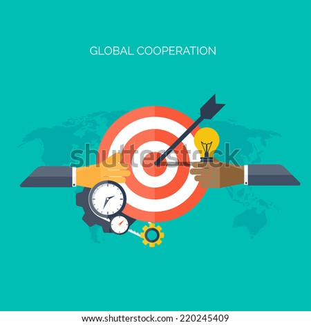 Flat hands. Global cooperation concept background. Business and moneymaking. Marketing and management. Teamwork and brainstorm. - stock vector