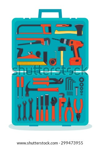Flat hardware tools set in a case - stock vector