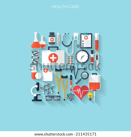 Flat health care and medical research background. Healthcare system concept. Medicine and chemical engineering.  - stock vector