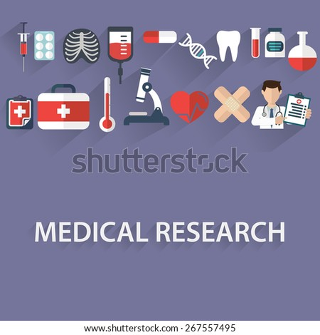 Flat health care and medical research background. Healthcare system concept. Medicine and chemical engineering - stock vector