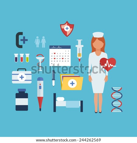 Flat health care and medical research background. Healthcare system concept. Nurse and medical tools icons - stock vector