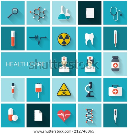 Flat health care and medical research icon set. Healthcare system concept. Medicine and chemical engineering.  First aid and diagnostic equipment. - stock vector