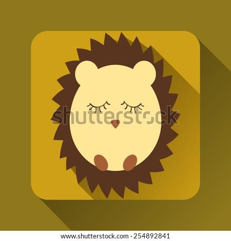 Flat hedgehog sleeps - stock vector
