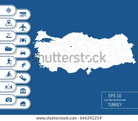 Flat High Detailed Turkey Map Divided Stock Vector 666242254