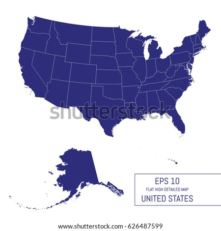Flat High Detailed United States Map Stock Vector 676263271 ...