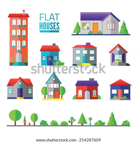 flat hoflat houses isolated icons, signs, symbols, illustrations, silhouettes, vectors setuses isolated icons, signs, symbols, illustrations, silhouettes, vectors set - stock vector