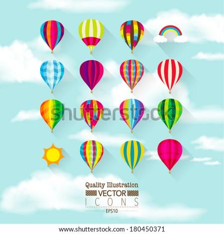 Flat Hot Air Balloon Vector Icon Set - stock vector