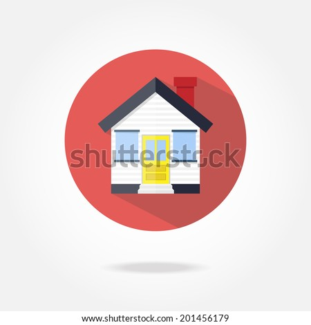 Flat house icon. - stock vector