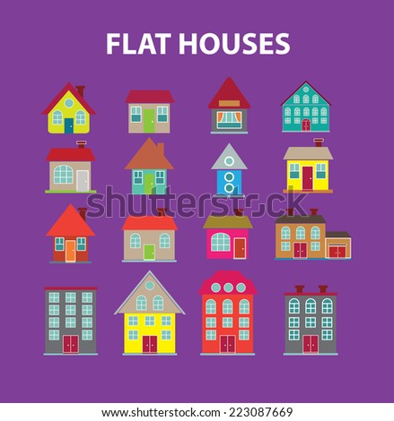 flat houses, buildings isolated icons, signs, illustrations, silhouettes set, vector on background for web and mobile  - stock vector