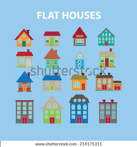 flat houses, buildings isolated icons, signs, illustrations, silhouettes, vectors set - stock vector