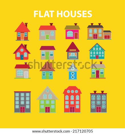 flat houses icons, signs, illustrations, silhouettes set, vector - stock vector