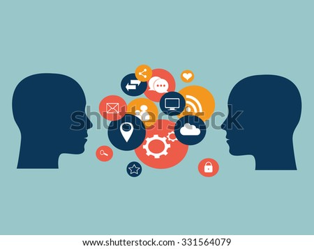 Flat human heads vector with social media icons, - stock vector