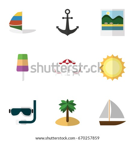Flat Icon Beach Set Of Yacht, Ship Hook, Recliner And Other Vector Objects. Also Includes Table, Cream, Beach Elements.