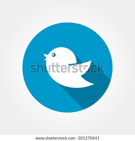 Flat icon birds with long shadow on the background of blue circle isolated on white. Bird web or internet icon  - stock vector