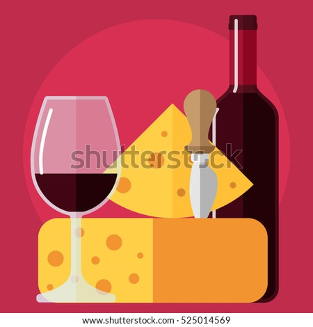 flat icon bottle of wine, glass of wine cheese and knife