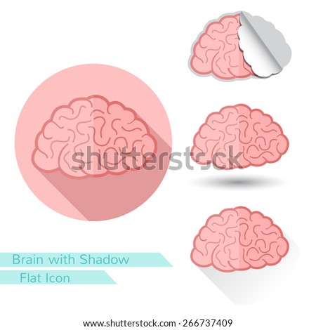 flat icon brain with oval  long shadow and folded corner - stock vector