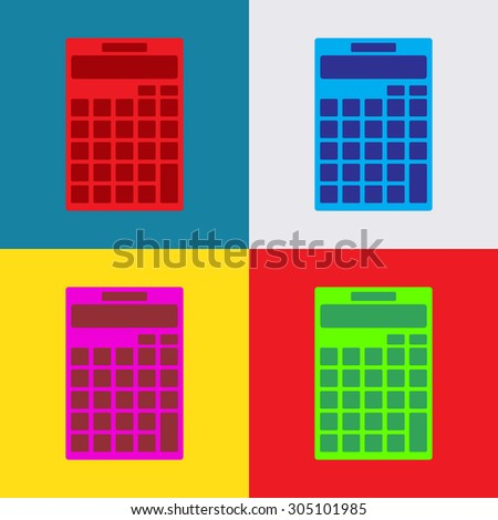 flat icon calculator icon isolated on colorful background, illustration, vector - stock vector