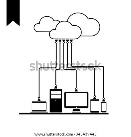 Flat Icon Cloud Computing Technology Concept