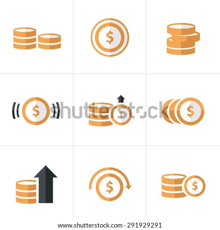 Flat icon  Coins Icons Set, Vector Design - stock vector