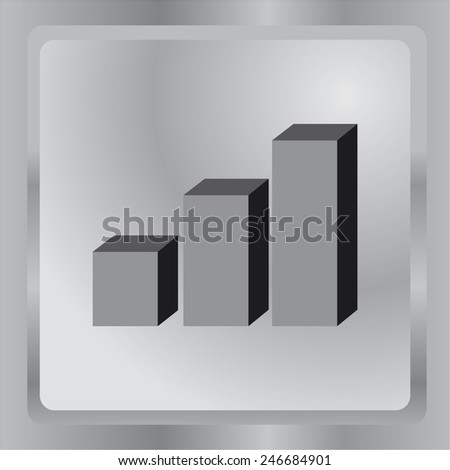 Flat icon. 3D chart, the percentage, the result, success. - stock vector