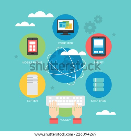 Flat icon design for cloud computing  and global network concept - stock vector