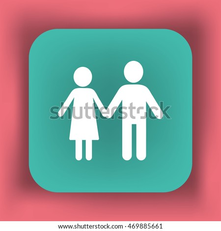 Flat icon family. Flat icon family. Husband and wife are kept each other's hands.
