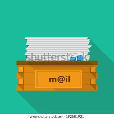 Flat icon for a mailbox for site and business. Design of flat icon for a mailbox for your site and business. - stock vector