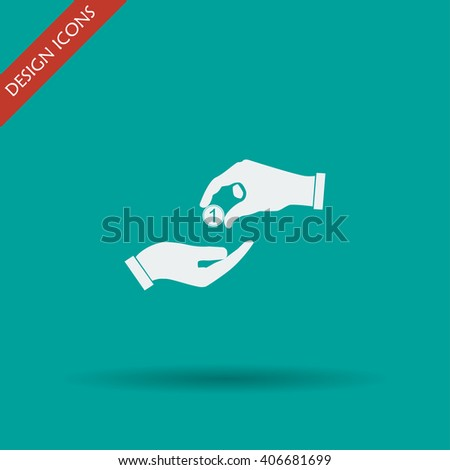 Flat icon, give alms,  Illustration EPS 10 - stock vector