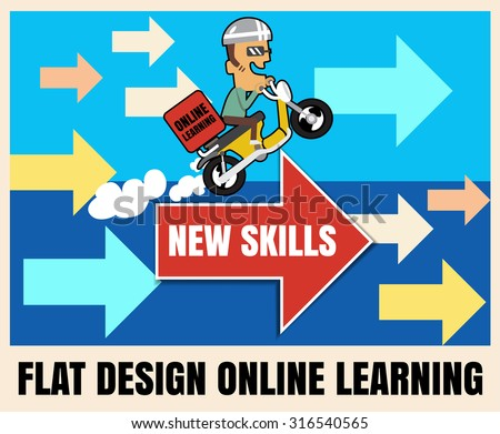 flat icon illustration online learning.Education concept vector format eps 10 - stock vector
