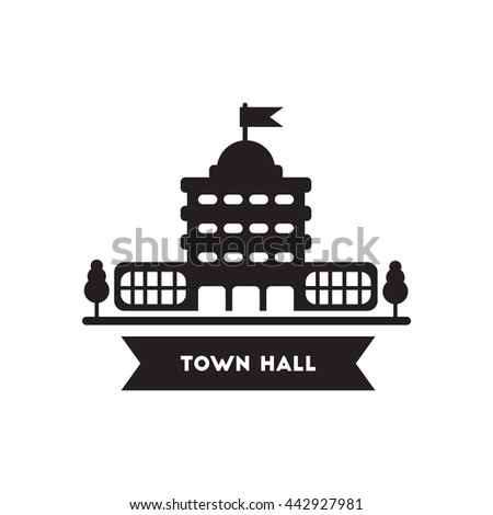flat icon in black and white  style building town hall