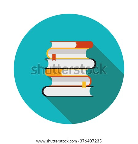 flat icon is a stack of books in vector format eps10 - stock vector