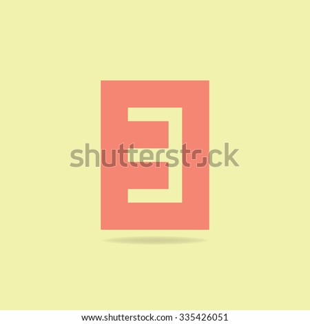 Flat Icon Number 3 .  Soft Color - stock vector