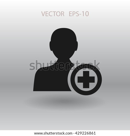 Flat icon of add friend - stock vector