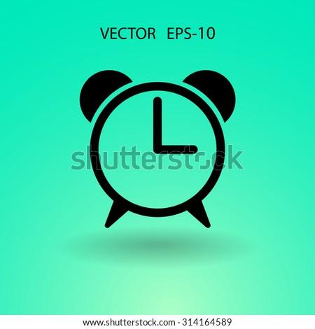 Flat icon of alarm clock - stock vector