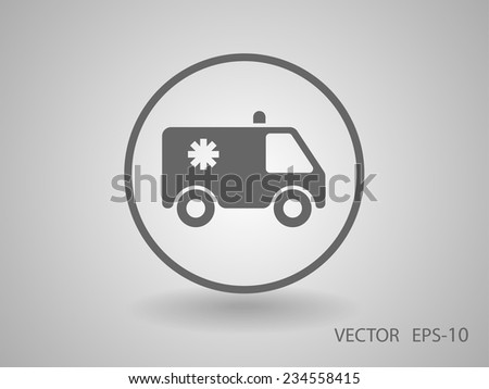 Flat  icon of ambulance - stock vector