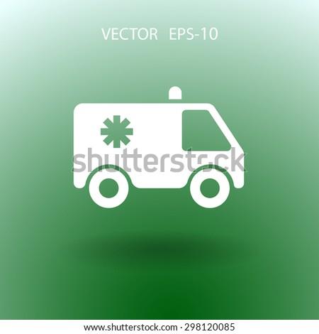 Flat  icon of ambulance - stock vector