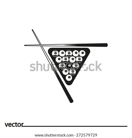Flat Icon of billiards. Isolated on white background. Modern vector illustration for web and mobile. - stock vector