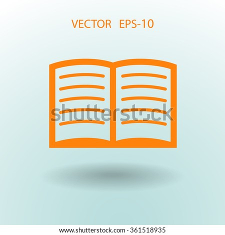 Flat icon of book - stock vector