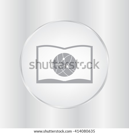 Flat icon of book and globe, vector illustration. Flat design style. - stock vector