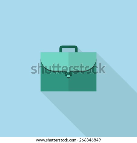 Flat Icon of Briefcase . Isolated on stylish blue background. Element with a long shadow. Modern vector illustration for web and mobile. - stock vector