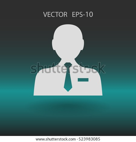 Flat icon of businessman. vector illustration