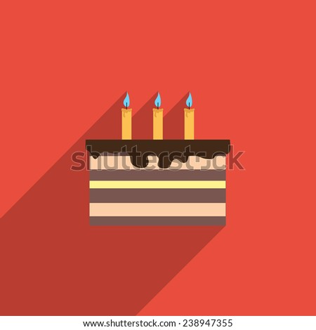Flat Icon of cake with candles. Isolated on stylish color background. Elements with a long shadow.Icons in flat design.Flat design style modern vector illustration