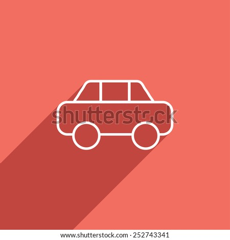 Flat Icon of car - stock vector