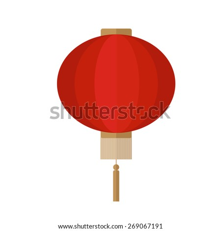 Flat icon of chinese red lantern.