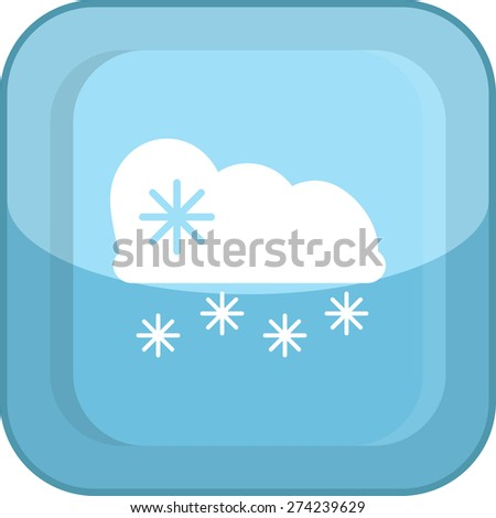 Flat Icon of cloud with snow. Isolated on stylish blue background. Modern vector illustration for web and mobile. - stock vector
