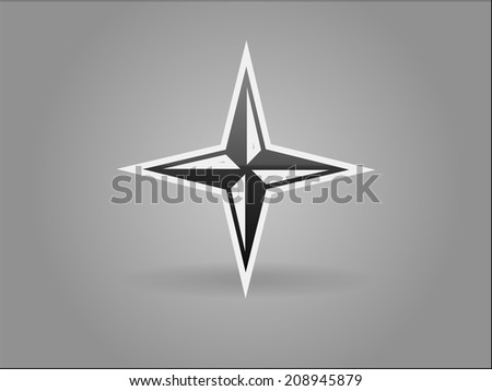 Flat icon of compass