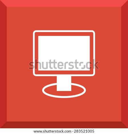 Flat Icon of computer monitor. Isolated on stylish red background. Modern vector illustration for web and mobile. - stock vector